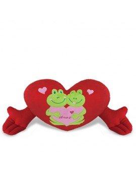 Coração de Pelúcia Sapinhos Vermelho 67 cm Antialérgico